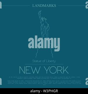 World landmarks. New York. USA. Statue of Liberty. Graphic template. Logos and badges. Linear design. Vector illustration - Stock Photo