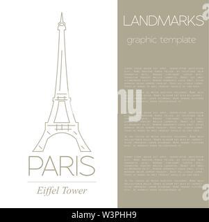 World landmarks. Paris. France. Eiffel tower. Graphic template. Logos and badges. Linear design. Vector illustration - Stock Photo