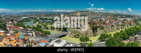 Panoramic beautiful top view of historic part of Tbilisi. Georgia in summer. - Stock Photo