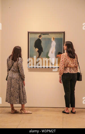 London UK 17 July 2019 The Tapestry 1862.The new Royal Academy exhibition Helene Schjerfbeck, 20 July to 27 October, the Finnish artist, not very well know in the UK, this is the first exhibit of her work, mostly portraits, that will put this artist in the artistic pedestal she deserves. Paul Quezada-Neiman/Alamy Live News - Stock Photo