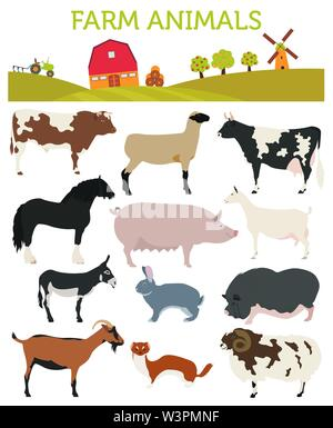 Animal farming, livestock. Cattle, pig, goat, ship, horse, donkey, rabbit, fur  icon set isolated on white. Flat design. Vector illustration - Stock Photo