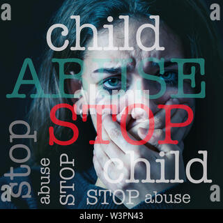 Image of written text Stop Child Abuse on the foreground and closeup portrait of frightened, depressed girl crying alone hopeless on the background. I