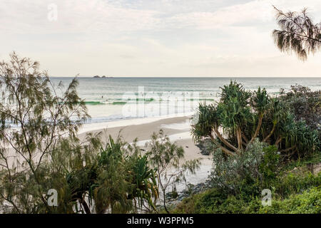 Group of surfers waiting to catch a wave at Wategos Beach Byron Bay, NSW, Australia - Stock Photo