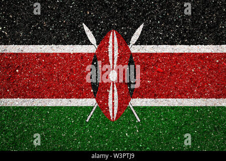 National flag of Kenya on a stone background.The concept of national pride and symbol of the country. - Stock Photo