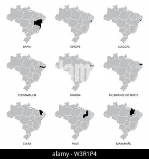 A set of Brazil maps with some highlighted states - Stock Photo