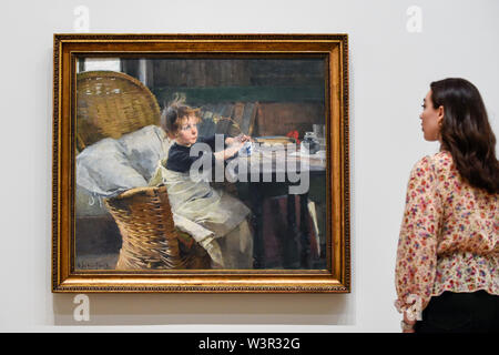 London, UK.  17 July 2019.  A staff member views 'The Convalescent', 1888, by Helene Schjerfbeck at the preview of the first solo UK exhibition of Finnish artist Helene Schjerfbeck at the Royal Academy of Arts in Piccadilly.  The exhibition features around 65 portraits, landscapes and still lifes and runs 20 July to 27 October 2019.  Credit: Stephen Chung / Alamy Live News - Stock Photo