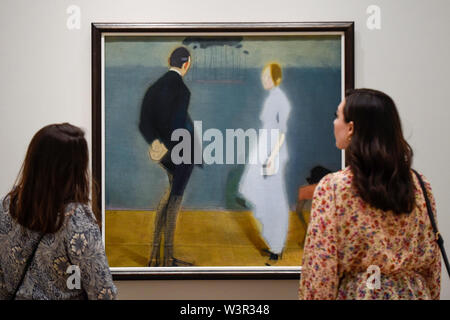 London, UK.  17 July 2019.  Staff members view 'Tapestry', 1914-17, by Helene Schjerfbeck at the preview of the first solo UK exhibition of Finnish artist Helene Schjerfbeck at the Royal Academy of Arts in Piccadilly.  The exhibition features around 65 portraits, landscapes and still lifes and runs 20 July to 27 October 2019.  Credit: Stephen Chung / Alamy Live News - Stock Photo