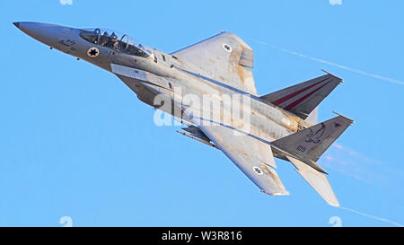 Israeli Air force (IAF) F-15C (Baz) Fighter jet in flight - Stock Photo