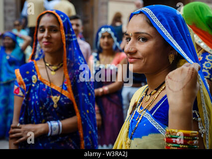 JODHPUR, INDIA - CIRCA NOVEMBER 2018: Portrait of Indian woman wearing traditional saree at the Mehrangarh Fort in Jodhpur. The fort is one of the lar - Stock Photo