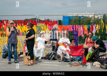 Blackpool, Lancashire, UK. 17th July, 2019. Women in white Wednesday anti-shale gas protests resume at the fracking site in Little Plumpton. Energy firm Cuadrilla has announced fracking is due to resume at its site. Fracking began at the Preston New Road site in October but operations were halted on as underground tremors were detected. No fracking has taken place on site since December but Cuadrilla has applied to the Environment Agency to use nitrogen lifting to aid the fracking process at Preston new Road  The drill site has been the subject of repeated protests. Credit; AlamyLivewNews - Stock Photo