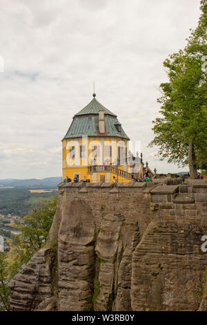 Baroque tower of the ancient fortress Konigstein in Saxony, Germany on a cliff that views over elbe valley - Stock Photo