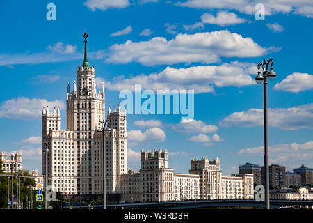 Stalin skyscraper on the embankment of the Moscow River - Stock Photo