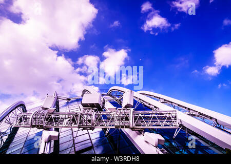 Singapore - Mar 15, 2019: Gardens by the bay, Flow Dome exterior architecture features.