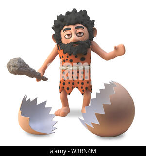 3d cartoon funny caveman finds the cracked shell of a dinosaur egg, 3d illustration render - Stock Photo