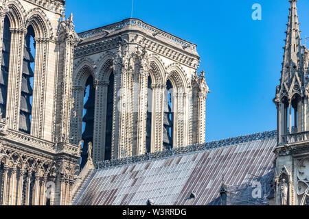 Notre Dame de Paris Cathedral, Towers on west facade, Paris, France - Stock Photo