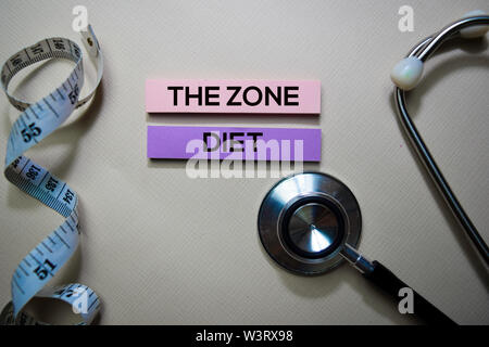 The Zone Diet text on Sticky Notes. Top view isolated on office desk. Healthcare/Medical concept - Stock Photo