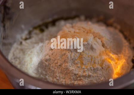 Bowl of pastries for fresh delicious pizza dough - Stock Photo