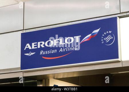 Athens, Greece. Logo at Aeroflot, a Russian airline, at Athens International Airport - Stock Photo