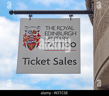 The sign of the ticket office of The Royal Edinburgh Military Tattoo. The event is held each August as part of the Edinburgh Festival. - Stock Photo