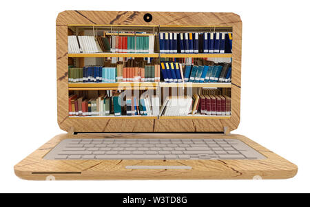 books online library wooden laptop screen studing  - 3d rendering - Stock Photo