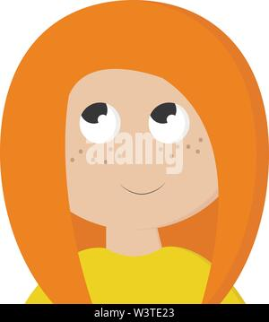 A girl in a yellow shirt with orange hair, vector, color drawing or illustration. - Stock Photo