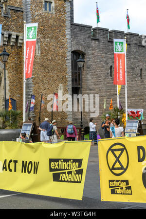 CARDIFF, WALES - JULY 2019: Large banner blocking Castle Street in Cardiff city centre. The road was blocked by Extinction Rebellion - Stock Photo