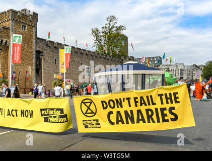 CARDIFF, WALES - JULY 2019: Large banner blocking Castle Street in Cardiff during a Climate Emergency protest by Extinction Rebellion - Stock Photo