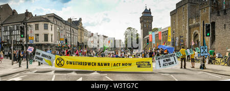 CARDIFF, WALES - JULY 2019: Panoramic view of a large banner blocking Castle Street in Cardiff. The road was blocked by Extinction Rebellion - Stock Photo