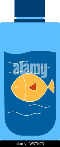 Yellow fish in bottle, illustration, vector on white background. - Stock Photo