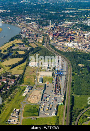 Aerial photograph of the logistics location Hohenbudberg Logport III, Logport Hohenbudberg belonging to the Port of Duisburg, Duisport in Duisburg-Hoh - Stock Photo