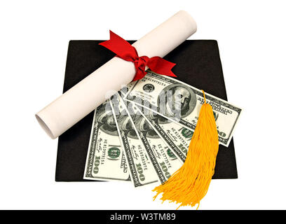Horizontal shot of a flattened black mortarboard with a diploma tied with a red ribbon, a yellow tassel, and five one hundred dollar bills fanned out - Stock Photo