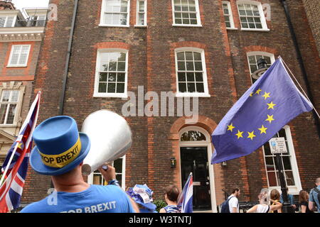 Steve Bray gives Boris Johnson a hard time in Great College St, London 17th July 2019. - Stock Photo