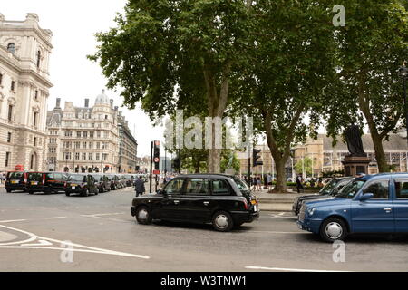 Black Cab Taxi Drivers demonstrate in central London 17th July 2019. - Stock Photo