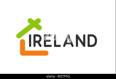 Creative Logo with House for Real Estate Company in Ireland. - Stock Photo