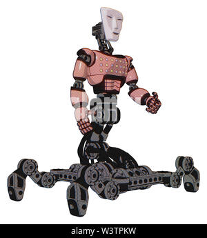 Bot containing elements: humanoid face mask, light chest exoshielding, chest green blue lights array, insect walker legs. Material: toon pink tint. - Stock Photo