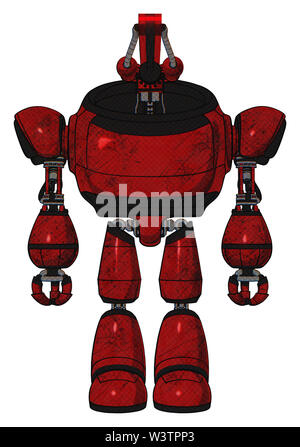 Robot containing elements: dual retro camera head, laser gun head, heavy upper chest, light leg exoshielding. Material: red blood grunge material. - Stock Photo