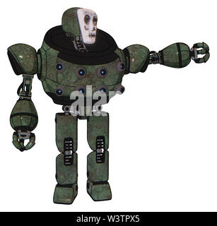 Bot containing elements: humanoid face mask, skeleton war paint, heavy upper chest, chest energy sockets, prototype exoplate legs. Material: old... - Stock Photo
