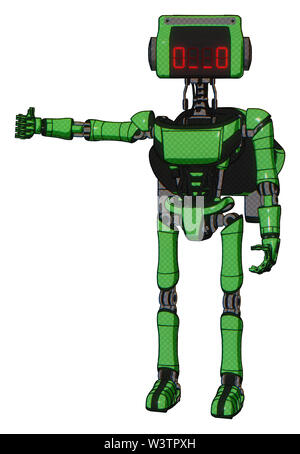 Robot containing elements: dual retro camera head, clock radio head, light chest exoshielding, ultralight chest exosuit, rocket pack, ultralight foot. - Stock Photo