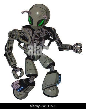 Bot containing elements: grey alien style head, green demon eyes, bug antennas, heavy upper chest, no chest plating, light leg exoshielding,... - Stock Photo