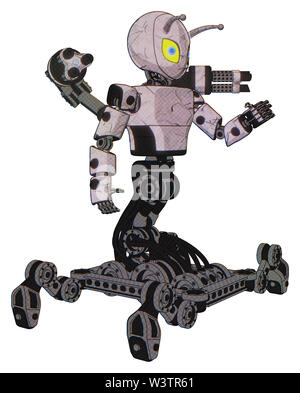 Robot containing elements: grey alien style head, yellow eyes with blue pupils, bug antennas, light chest exoshielding, prototype exoplate chest,... - Stock Photo