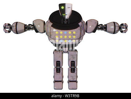 Robot containing elements: humanoid face mask, two-face black white mask, heavy upper chest, colored lights array, prototype exoplate legs. Material:. - Stock Photo