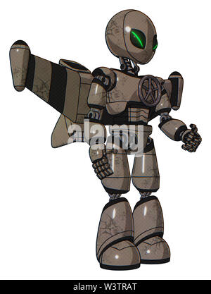 Robot containing elements: grey alien style head, green demon eyes, light chest exoshielding, chest valve crank, stellar jet wing rocket pack, light. - Stock Photo