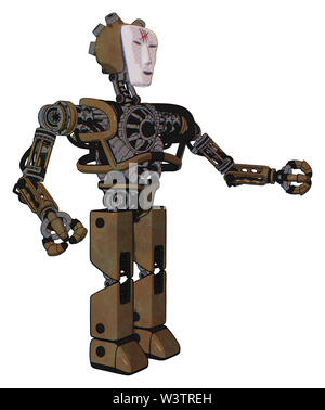 Bot containing elements: humanoid face mask, red slashes war paint, heavy upper chest, no chest plating, prototype exoplate legs. Material: old... - Stock Photo