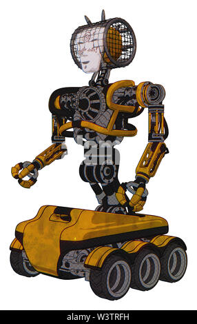 Bot containing elements: humanoid face mask, die robots graffiti design, heavy upper chest, no chest plating, six-wheeler base. Material: worn... - Stock Photo