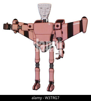 Robot containing elements: humanoid face mask, binary war paint, light chest exoshielding, prototype exoplate chest, stellar jet wing rocket pack,... - Stock Photo