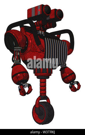 Robot containing elements: dual retro camera head, heavy upper chest, chest vents, unicycle wheel. Material: red blood grunge material. Situation:... - Stock Photo
