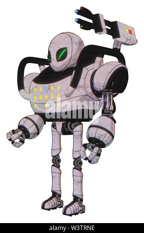 Droid containing elements: grey alien style head, green demon eyes, heavy upper chest, colored lights array, ultralight foot exosuit. Material:... - Stock Photo