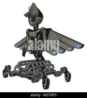 Droid containing elements: grey alien style head, led array eyes, alien bug creature hat, light chest exoshielding, ultralight chest exosuit, cherub. - Stock Photo