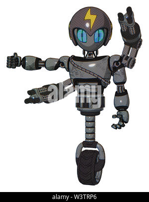 Droid containing elements: grey alien style head, blue grate eyes, lightning bolts, gray helmet, light chest exoshielding, cable sash, minigun back... - Stock Photo