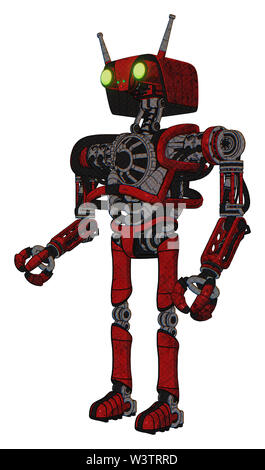 Robot containing elements: dual retro camera head, cyborg antenna head, heavy upper chest, no chest plating, ultralight foot exosuit. Material: red... - Stock Photo
